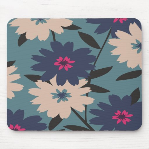 Blue and Cream Blooms Mousepad
