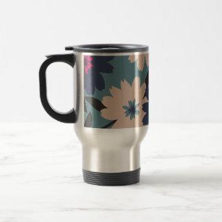 Blue and Cream Blooms Travel/Commuter Mug -