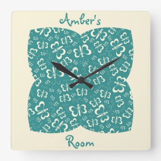 Blue and Cream Butterfly Girl's Bedroom Wall Clock