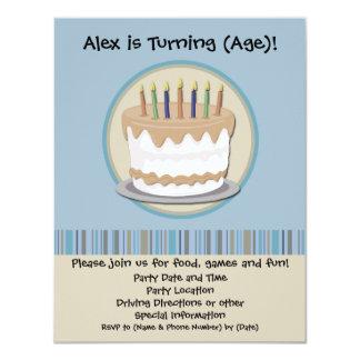 Blue and Cream Cake Birthday Party Invitation