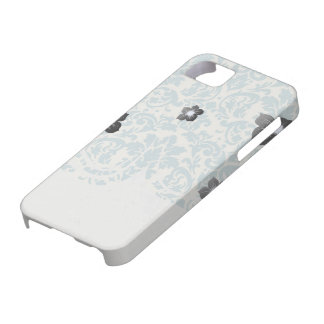 blue and cream damask flourish pattern iPhone 5 covers