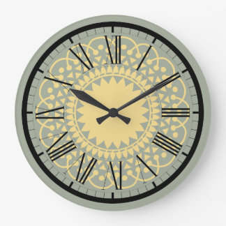 Blue and Cream Doilie Lace Design Wall Clock