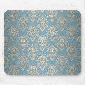 Blue and Cream Elegant Damask Pattern Mouse Pad