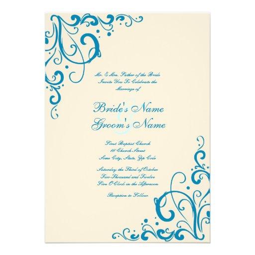 Blue and Cream Flourish Wedding Invitation