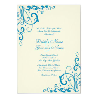 Blue and Cream Flourish Wedding Invitation