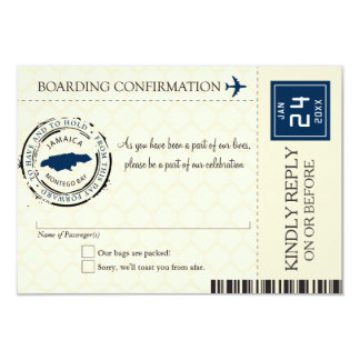Blue and Cream Jamaica RSVP Boarding Pass 9 Cm X 13 Cm Invitation Card
