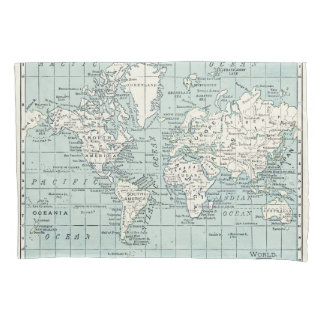 Blue and cream map of the world pillowcase