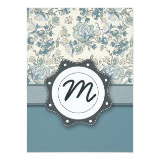 Blue and Cream Roses with Monogram 14 Cm X 19 Cm Invitation Card