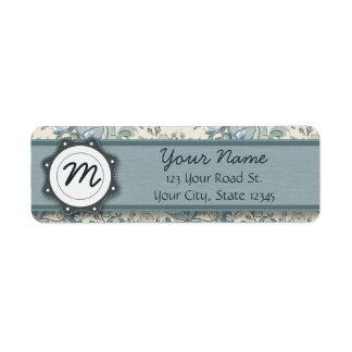 Blue and Cream Roses with Monogram Return Address Label