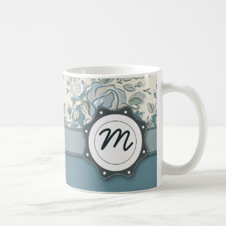 Blue and Cream Roses with Monogram Coffee Mugs
