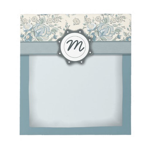 Blue and Cream Roses with Monogram Notepads