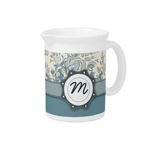 Blue and Cream Roses with Monogram Pitcher
