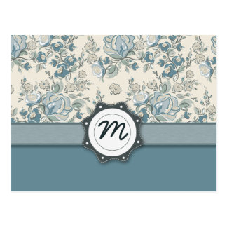 Blue and Cream Roses with Monogram Postcard
