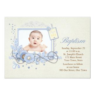 "Blue and Cream Scrap-style Religious Photo Card 5"" X 7"" Invitation Card"