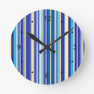 Blue And Cream Stripes Wall Clocks