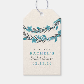 Blue and Cream Winter Floral Bridal Shower Favor Gift Tags