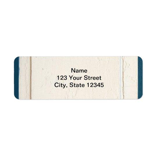 Blue and Cream Wood Panel Return Address Label