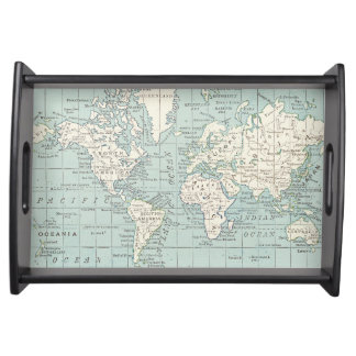 Blue and Cream World Map Tray