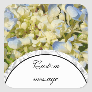 Blue and creamy white hydrangea flowers photo square sticker