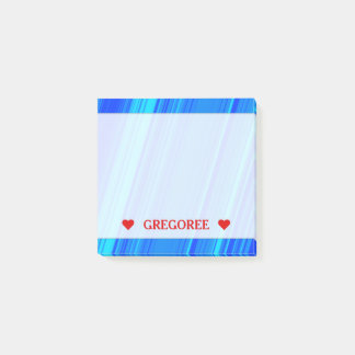 Blue and Cyan Lines Pattern & Custom Name Note