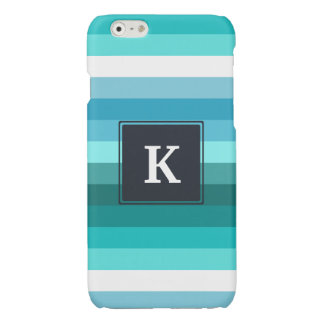 Blue and cyan stripes monogram