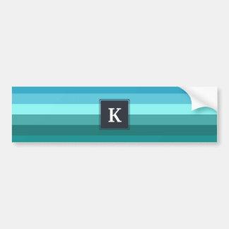 Blue and cyan stripes monogram bumper sticker