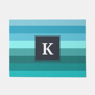 Blue and cyan stripes monogram doormat