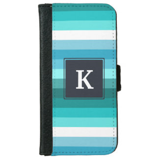 Blue and cyan stripes monogram iPhone 6 wallet case