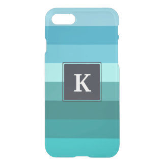 Blue and cyan stripes monogram iPhone 8/7 case