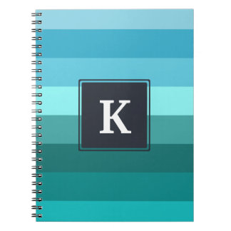 Blue and cyan stripes monogram notebook