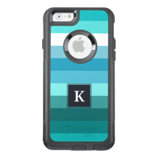Blue and cyan stripes monogram OtterBox iPhone 6/6s case