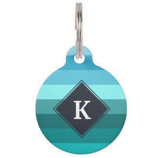 Blue and cyan stripes monogram pet nametag