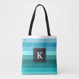 Blue and cyan stripes monogram tote bag