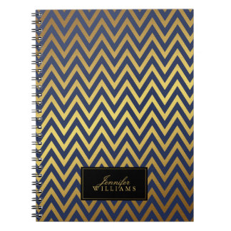 Blue and Faux Gold Chevron Stripes Personalized Note Books