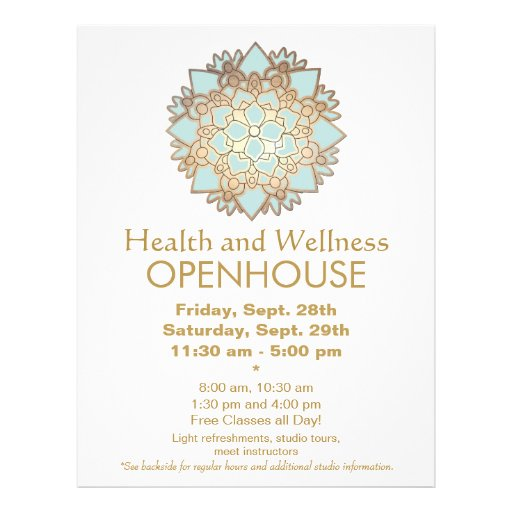 Blue and Faux Gold Leaf Health and Wellness Flyer
