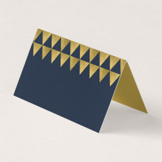Blue and Faux Gold Triangle Geometric Pattern Place Card
