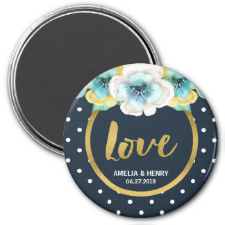 Blue and Faux Gold, Watercolor Floral Wedding Love 7.5 Cm Round Magnet