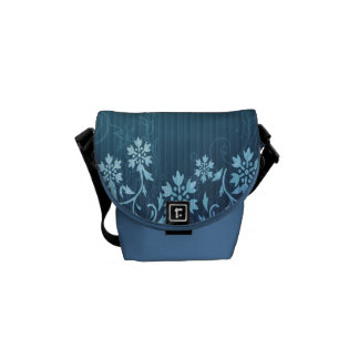 Blue and Floral Rickshaw Mini Zero Messenger Bag