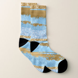 Blue and Gold Abstract Socks 1