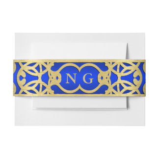Blue and Gold Belly Band Invitation Belly Band