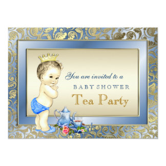 """Blue and Gold Boys Tea Party Baby Shower 6.5"""" X 8.75"""" Invitation Card"""