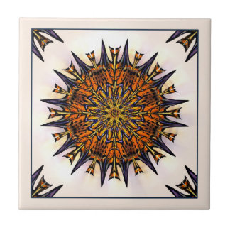 Blue and Gold Butterfly Kaleidoscope Ceramic Tile