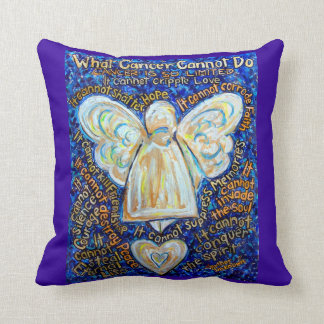 Blue and Gold Cancer Angel Decorative Throw Pillow