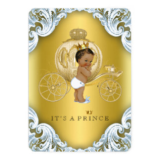 """Blue and Gold Carriage Ethnic Prince Baby Shower 5"""" X 7"""" Invitation Card"""