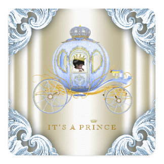 """Blue and Gold Carriage Prince Ethnic Baby Shower 5.25"""" Square Invitation Card"""