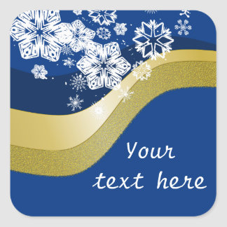 Blue and Gold Christmas Theme Label