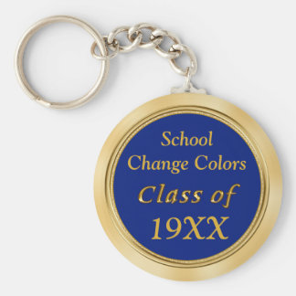 Blue and Gold Class Reunion Favors Your TEXT COLOR Basic Round Button Key Ring