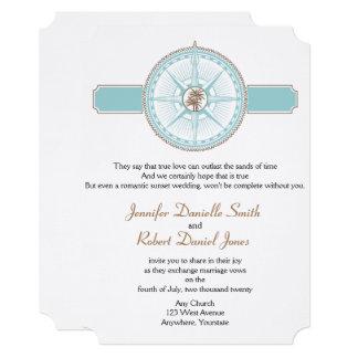 Blue and Gold Compass Rose Beach Wedding Card