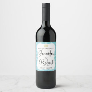 Blue and Gold Coral Beach Wedding Wine Label