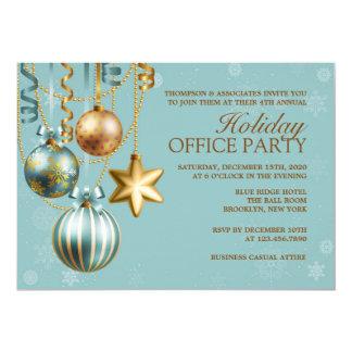 Blue and Gold Corporate Holiday Party Invitation